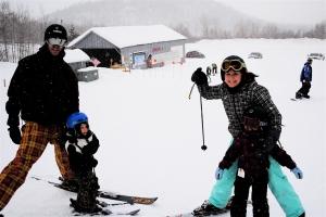 Family skiing at Big Tupper Ski Resort