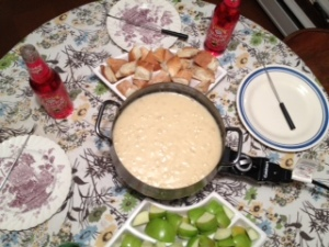 Yum, cheddary beer fondue!