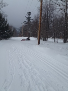 One of the many volunteers grooming the trails