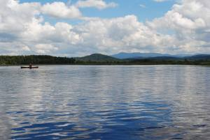 The beautiful view while canoeing on Simond Pond in Tupper Lake, NY