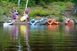 A canoe and kayak trip to the Bluffs in Tupper Lake for a picnic and some cliff jumping.